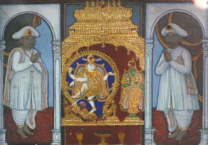 Chinnaiya (1802-56) and Ponnaiya (1804-64) were the eldest among the four brothers known as the Thanjavur Quartet. This painting, likely commissioned during the reign of king Sivaji II (r. 1832-1855) is located in the house on West Main Street in Thanjavur city which was gifted to the Quartet's family a generation before they were born. Photography Cylla von Tiedemann