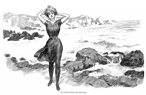 Gibson Girl on a beach, Charles Dana Gibson, 1902