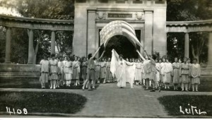 Dancing in front of Oberlin's Memorial Arch; Photograph from the papers of Delphine Hanna, Oberlin Archives