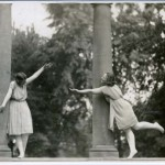 """""""Interpretive dance pose"""" at Oberlin College's Memorial Arch in 1917; from the papers of Delphine Hanna"""