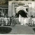 Dancing in front of Oberlin's Memorial Arch; Photograph from the papers of Delphine Hanna